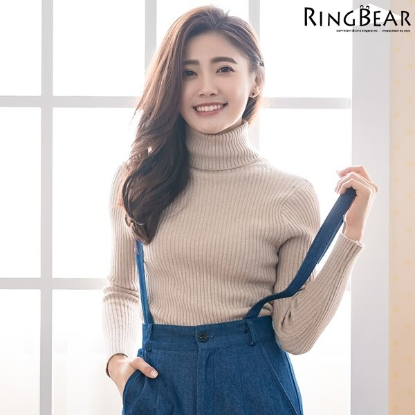 高領針織--暖氛圍繞收腰顯瘦保暖親膚高彈力高領針織毛衣(黑.灰.可可XL-3L)-X243眼圈熊中大尺碼 2