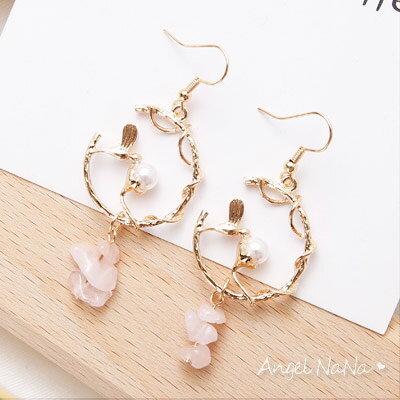 AngelNaNa:耳環《可改耳夾式》《可改S925銀針》小鳥珍珠花園垂墬式耳鈎【RA0078】