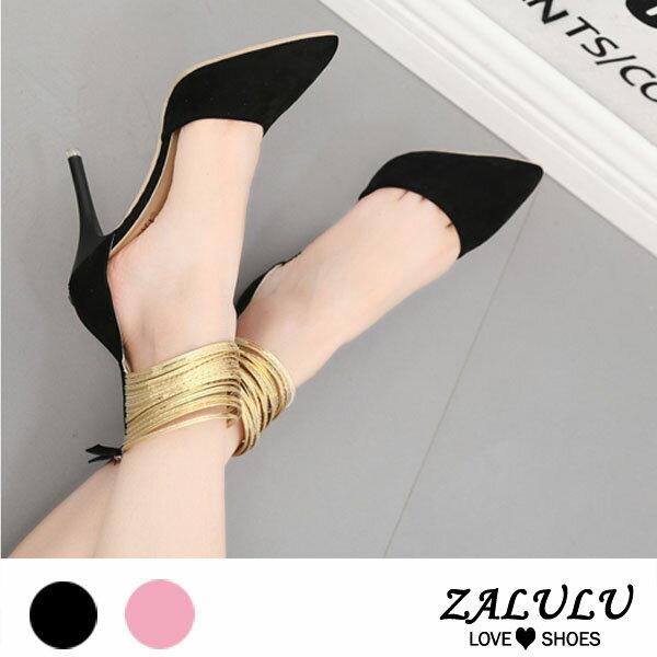 ZALULU愛鞋館ME268預購美型女王御用。細高跟鞋包鞋-黑粉-35-41