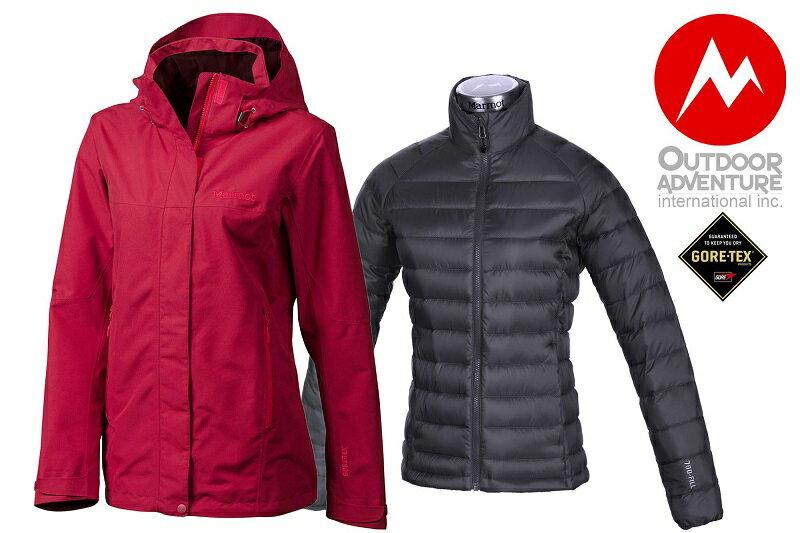 【【蘋果戶外】】marmot 美國 女限量款 Palisades GORE-TEX 可拆式兩件式風雨衣 內層700 fill downtek 輕薄保暖羽絨 35870