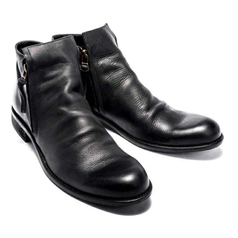 <br/><br/>  雅痞雙拉練款造型皮靴#12112黑 -ARGIS日本製手工皮鞋<br/><br/>