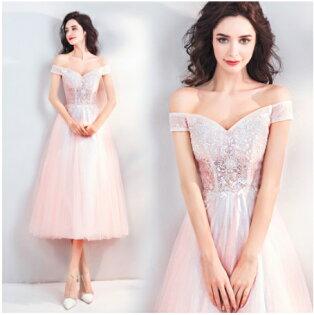 天使嫁衣【AE2998】淺粉色一字領蕾絲立體釘珠中長款禮服˙預購訂製款