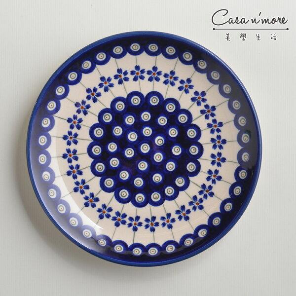 波蘭陶藏青小卉系列淺底圓形餐盤陶瓷盤菜盤點心盤圓盤沙拉盤19cm波蘭手工製
