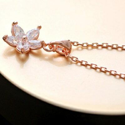 純銀項鍊鍍18K金鑲鑽吊墜~精美花朵唯美七夕情人節 女飾品73dn122~ ~~米蘭 ~