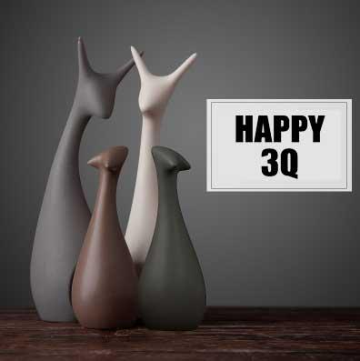 北歐風雜貨創意現代陶瓷客廳交誼廳搬家結婚禮物電視櫃擺設陶瓷工藝品-貓/鹿【AAA0695】