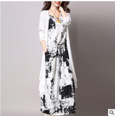 ~鳶尾紫服飾館~二件  兩件套中長款套裝裙 水墨背心裙開衫長袖洋裝 長版公主裙 修身顯瘦洋