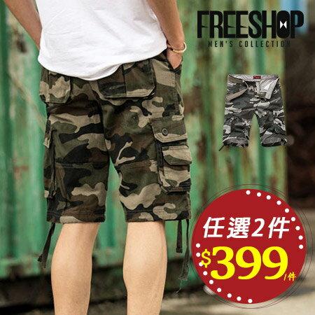 《全店399免運》Free Shop【QTJK991】日韓系軍風滿版迷彩側邊大口袋休閒短褲工作短褲 二色 有大尺碼