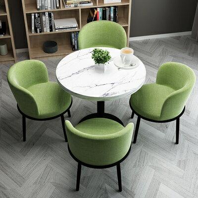 接待洽談桌簡約接待洽談桌椅組合網紅小圓桌陽臺休閒沙發椅店鋪會客餐桌椅子『DD2226』 5