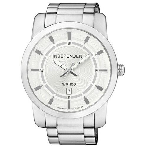 CITIZEN 星辰錶 INDEPENDENT IB5~411~11 簡約白盤大錶面大三針
