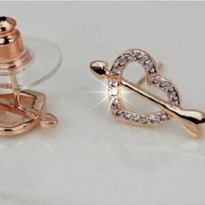 美麗大街~GE389~ 爆款愛心耳釘 丘比特愛神之箭精緻小巧耳環飾品