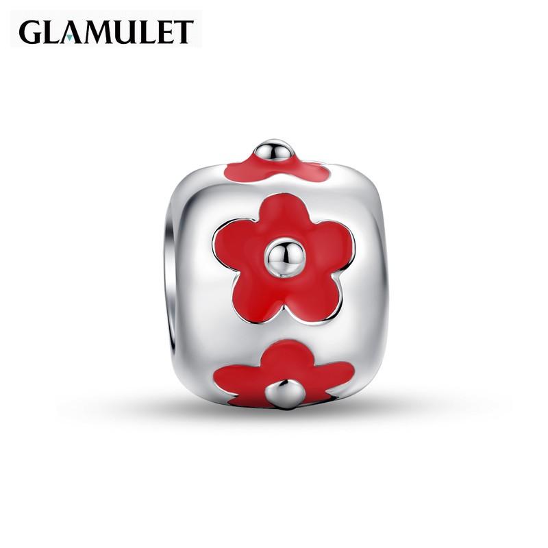 Glamulet格魅麗925純銀紅色琺瑯花朵手環手鏈串珠銀飾 charm