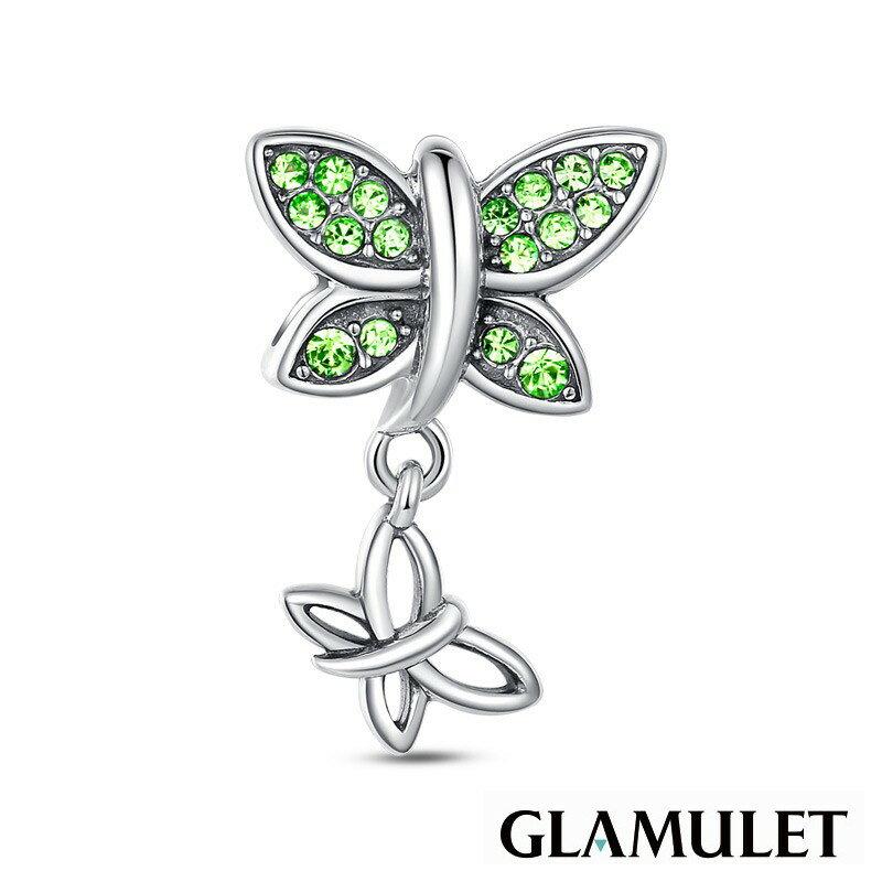 Glamulet格魅麗925純銀水晶麗滿鑲鑽石蝴蝶綠色 charm~施華洛世奇