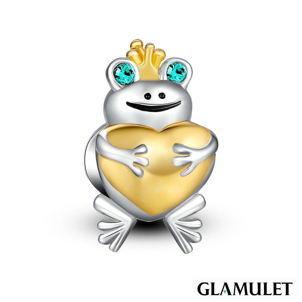Glamulet格魅麗925純銀水晶可愛小青蛙 charm手環手鏈串珠吊飾