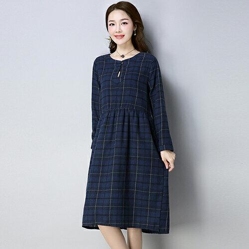 磨毛款格子連身裙(2色M~2XL)*ORead* 1