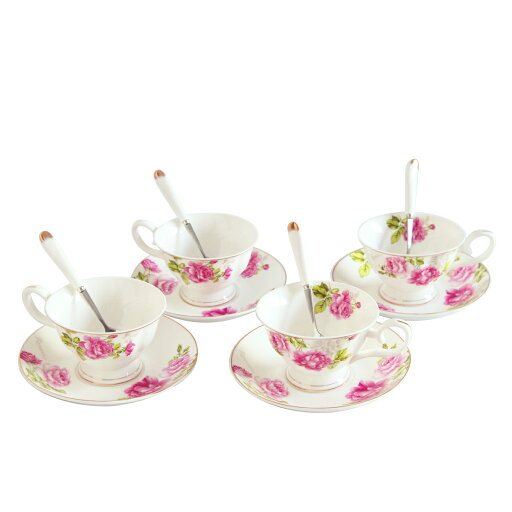 Porcelain Tea Cup and Saucer Coffee Cup Set White color with Saucer and Spoon 7 oz Set of 4 TC-ZMFF f7baec876deb128dd88da025cfd3257d