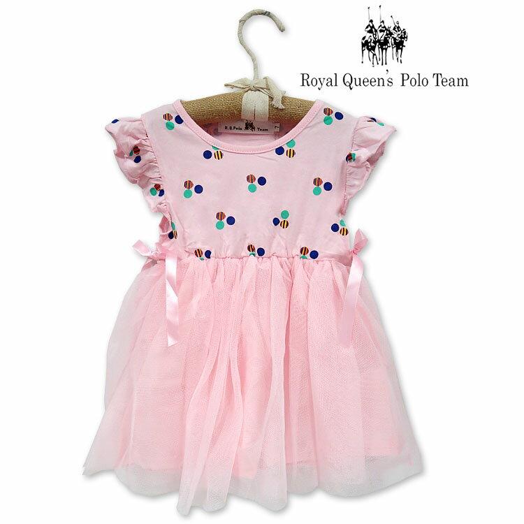 粉色印花網紗無袖小洋裝 背心連身裙[0229-8] RQ POLO 5-15碼 春夏 童裝