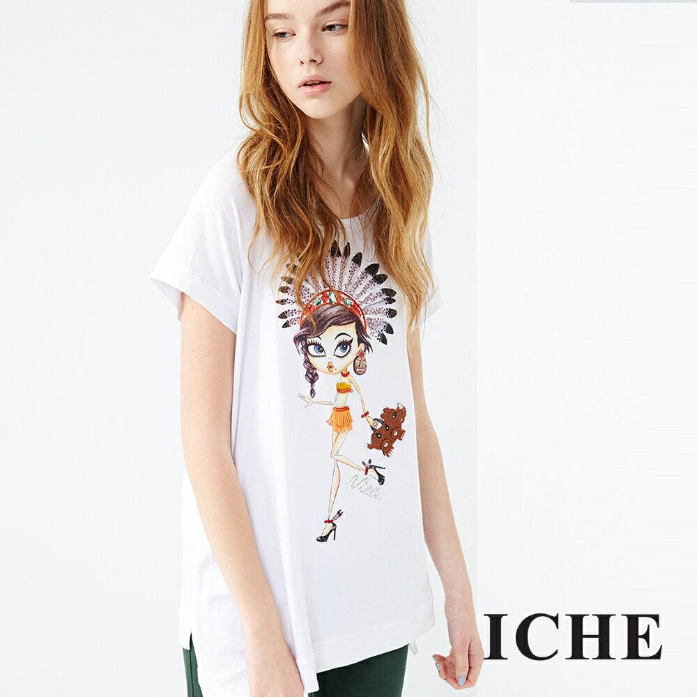 ICHE 衣哲 印地安女孩印花長版上衣 兩色