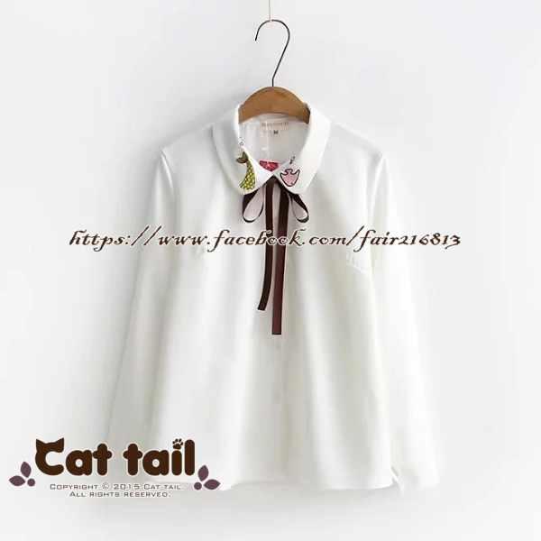 《貓尾巴》TS-0447日系魚尾刺繡長袖襯衫(森林系日系棉麻文青清新)