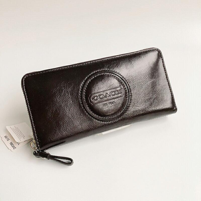 美國百分百【全新真品】Coach 皮夾 49386 長夾 錢包 零錢包 中夾 漆皮 真皮 浮雕 女用 咖啡色 B546
