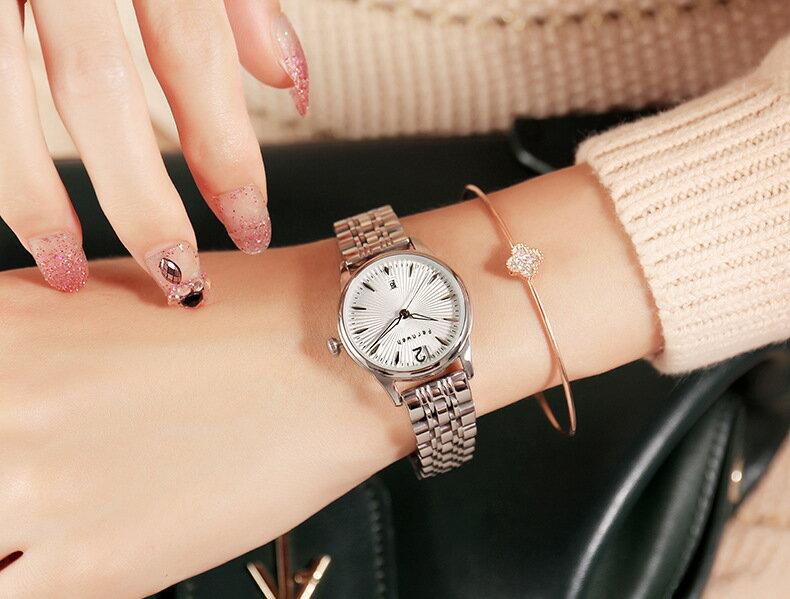 美琪 (簡約時尚)新款精緻단색實心精鋼帶빛나는夜光日曆防水女石英錶