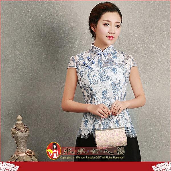 【水水女人國】~迷人樂章~另人驚豔。藝術極品中國風美穿在身~藍茵。古典蕾絲花朵時尚短袖旗袍式唐裝上衣