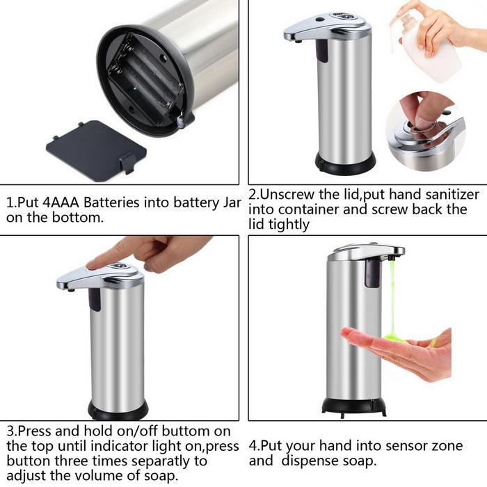 Automatic Touchless Soap Dispenser Stainless Steel Dispenser with Base 250ml 2
