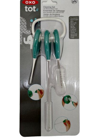 【憨吉小舖】OXO tot 吸管水杯清潔刷組 靚藍綠 1組/卡