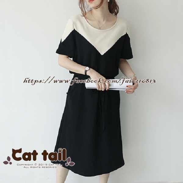 《貓尾巴》LZ-03186小清新雙色拼接短袖連身裙(森林系日系棉麻文青清新)