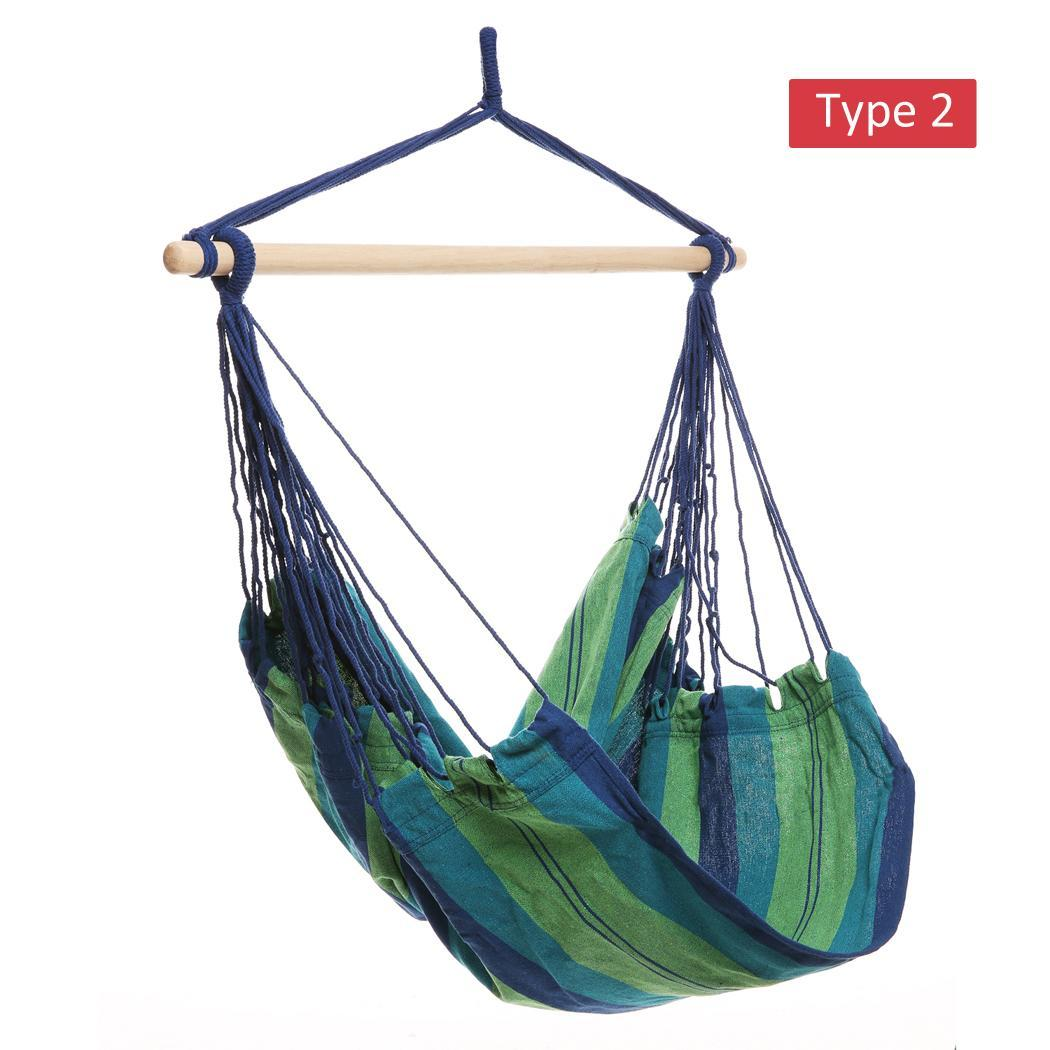 Striped Hanging Chair Hammock with Wooden Stretcher - load up to 120 kg Multicolor for Yard, Bedroom 2