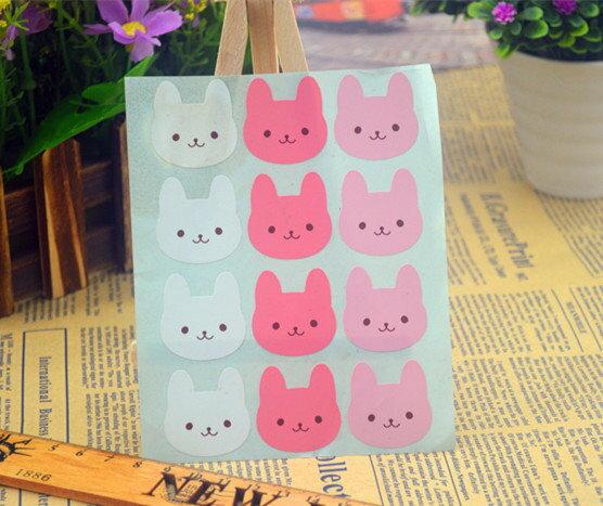 =優生活=「優惠買一送一」韓國可愛三色兔子封口貼12枚 貼紙裝飾貼紙 禮物貼紙 烘培包裝貼