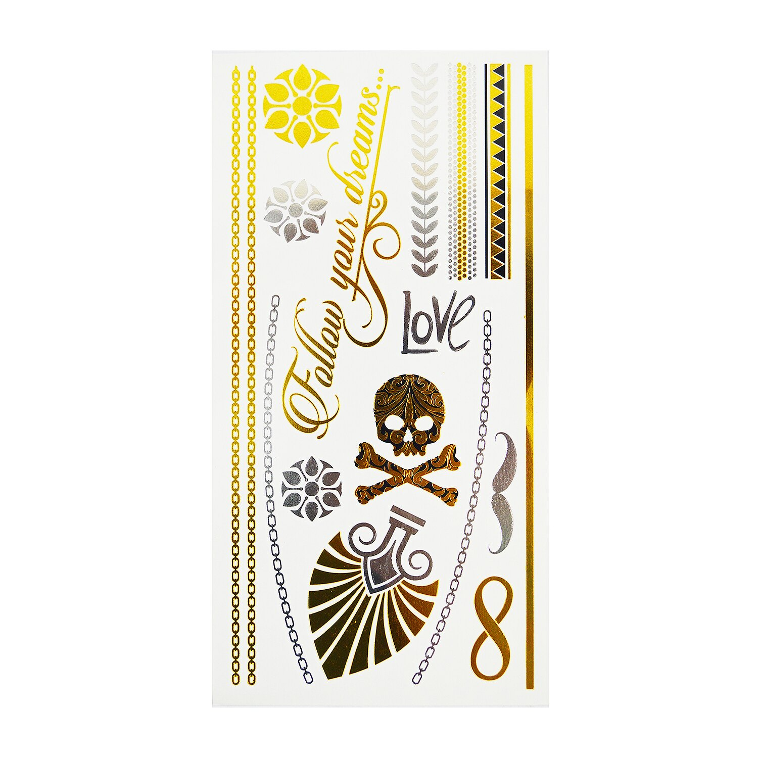 High Quality Stylish & Safe Metallic Gold Silver Temporary Body Tattoo - Style 3 0