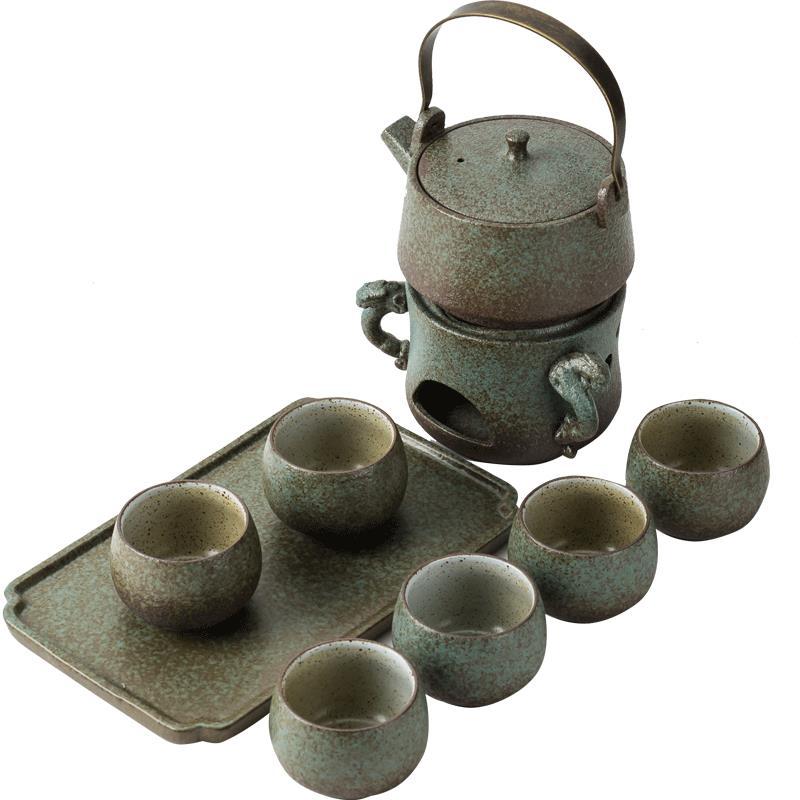 日式粗陶茶壺蠟燭臺套裝家用大酒精燈加熱煮茶爐黑陶溫茶器養生