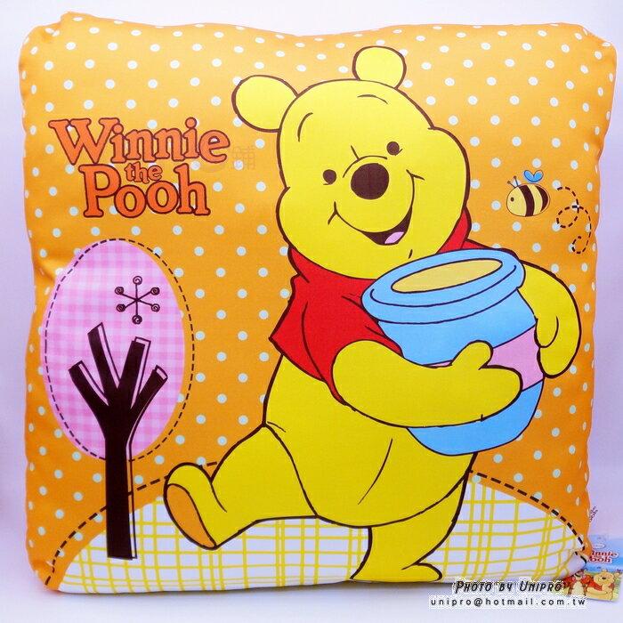 【UNIPRO】糖罐 小熊維尼 Winnie the Pooh 48X48cm 涼感方枕 四方枕 靠枕 大抱枕 維尼