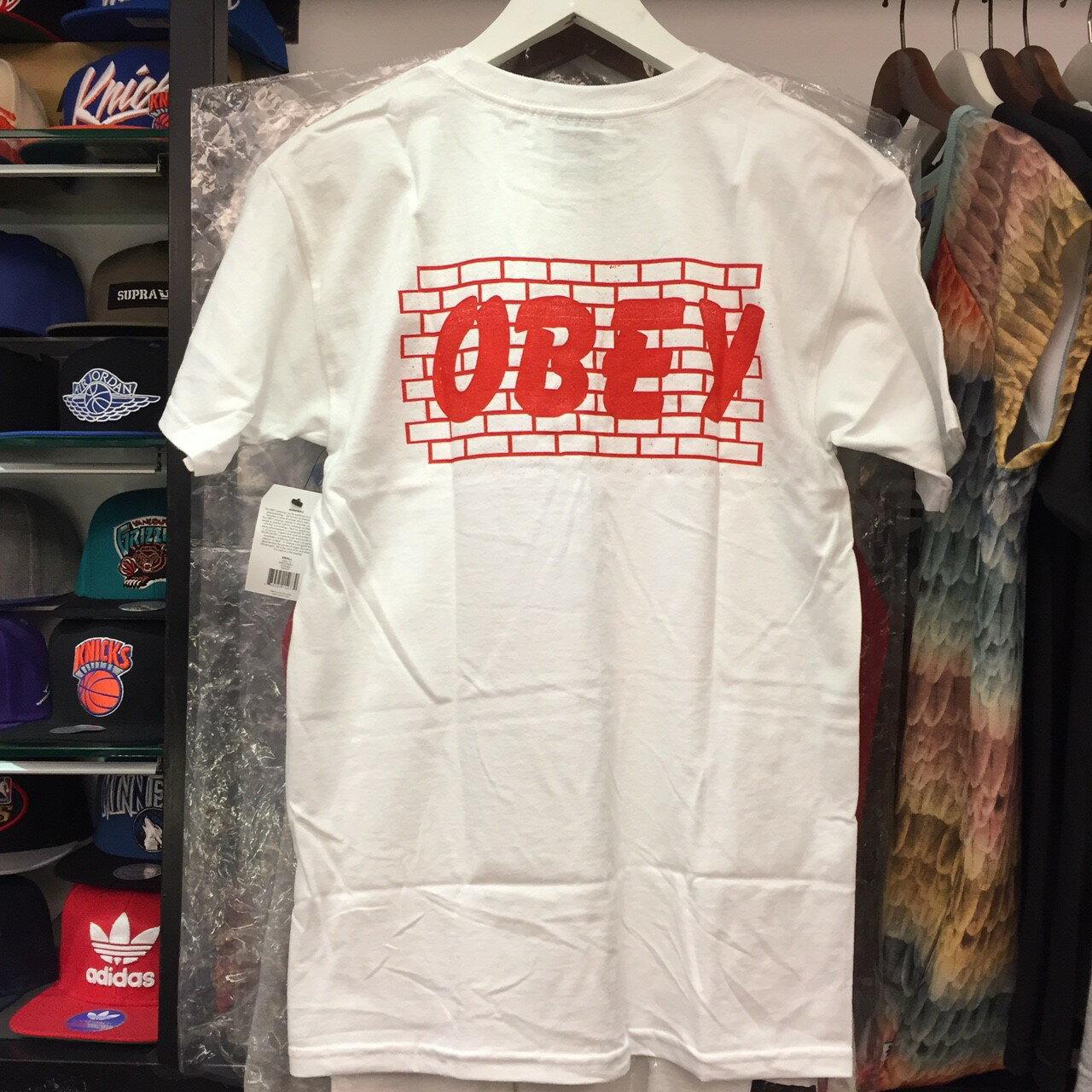 BEETLE PLUS 西門町經銷 全新 美國品牌 OBEY BRICK WALL TEE 磚牆 全白 黑字 白字 LOGO 短 TEE 163081179WHT OB-420 2
