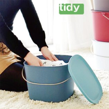 HOME WORKING:tidy時尚簡約收納桶(藍綠色)
