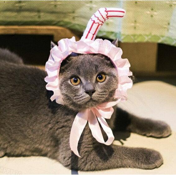 吸貓創意寵物衣服貓頭套蕾絲圍裙寵物頭飾貓咪髮箍寵物帽子-粉/黃【AAA4530】