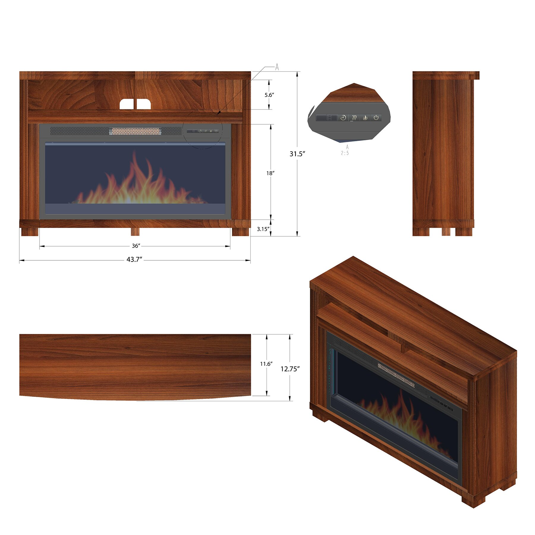 "AKDY 44"" Freestanding Brown Wooden Electric Fireplace Heater w/ Remote 1"