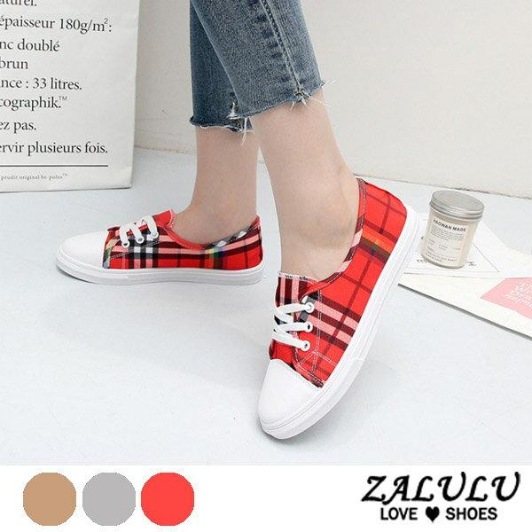 ZALULU愛鞋館7EE107預購學院風鈴格線條綁帶休閒帆布鞋-偏小-黃紅灰-36-40