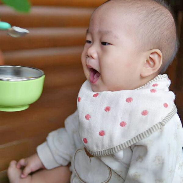 ollobaby瓦吉司 - HiBOU喜福 - 六層紗口水巾圍兜 (水玉紅) 4