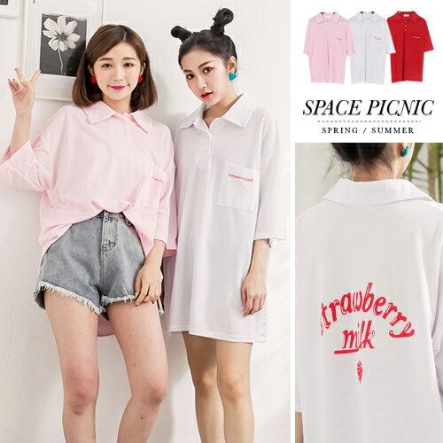 襯衫 Space Picnic, 現貨.草莓牛奶字母寬鬆短袖POLO衫【C17063073】