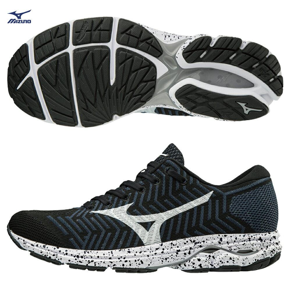 WAVE KNIT R2 男慢跑鞋 J1GC182909(黑X白)【美津濃MIZUNO】 - 限時優惠好康折扣