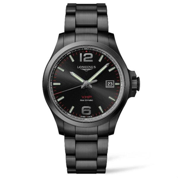 LONGINES浪琴錶L37262566征服者系列VHP超精準石英萬年曆腕錶黑面43mm