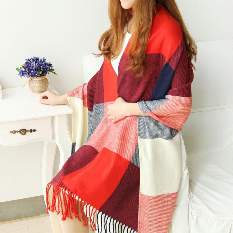 多款  格子仿羊絨披肩兩用保暖圍巾流蘇  保暖聖品  格紋百搭款~FS7112SEU~ Lanny Dress