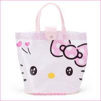 凱蒂貓週邊商品推薦到asdfkitty可愛家☆KITTY粉色大臉防水半透明手提水桶袋-好擦好洗-游泳玩水好用-日本正版商品