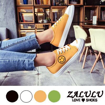 ZALULU愛鞋館 FE305預購 可愛笑臉好心情綁帶帆布包鞋-偏小-黑/白/黃/綠-36-40