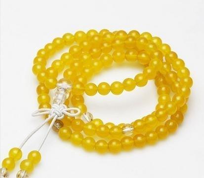 射手座星座佛珠手鏈 黃玉配白水晶 108顆 6.5MM 可當掛鏈