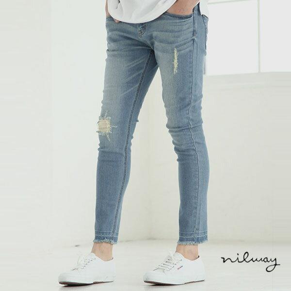 【Nilway】彈力窄管牛仔褲 破壞加工 0