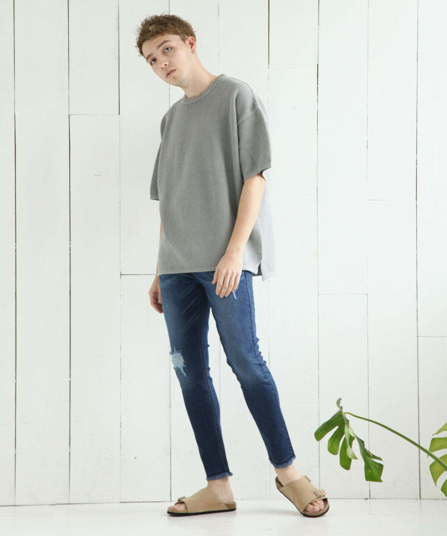 【Nilway】彈力窄管牛仔褲 破壞加工 3