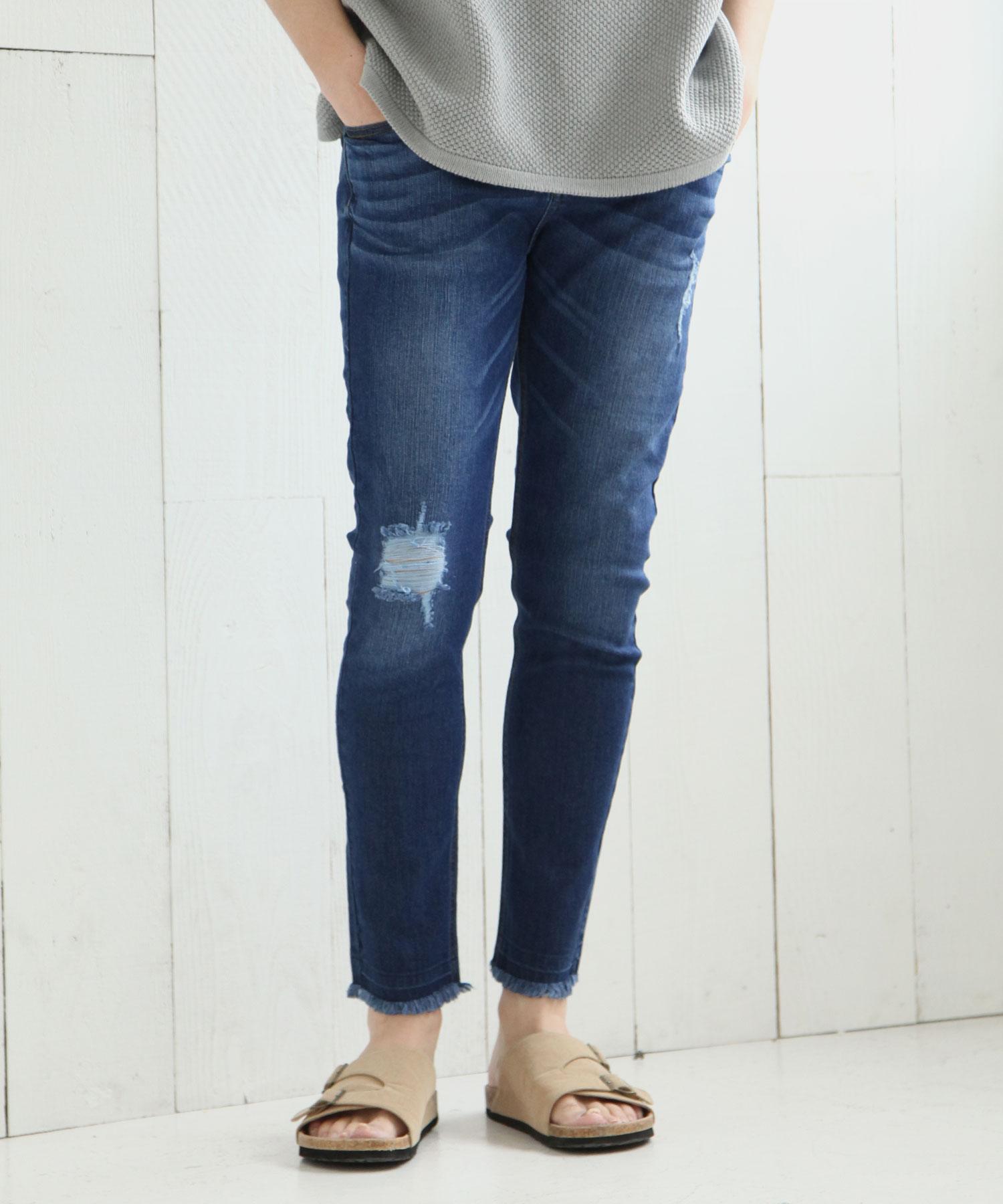 【Nilway】彈力窄管牛仔褲 破壞加工 2