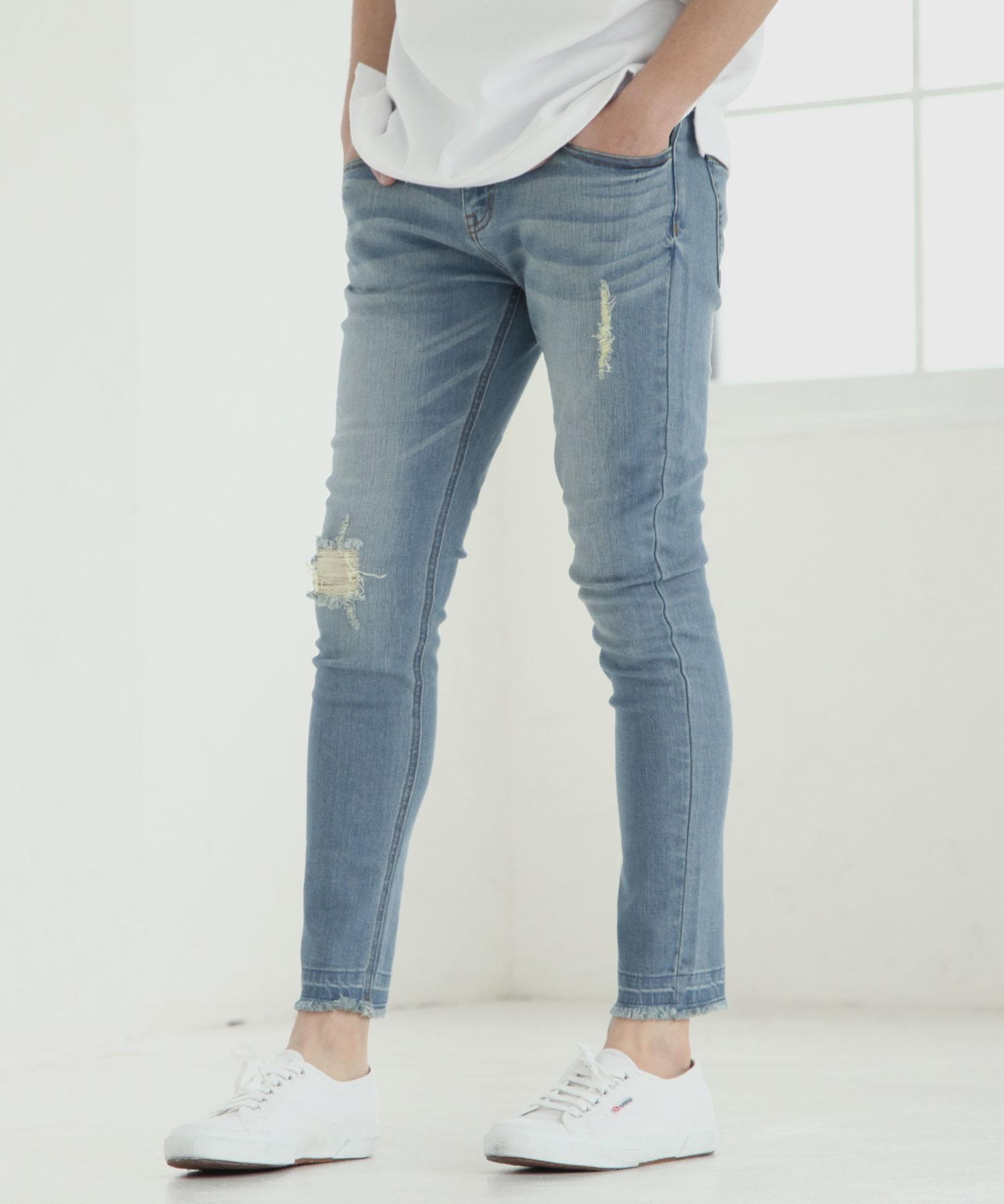 【Nilway】彈力窄管牛仔褲 破壞加工 1